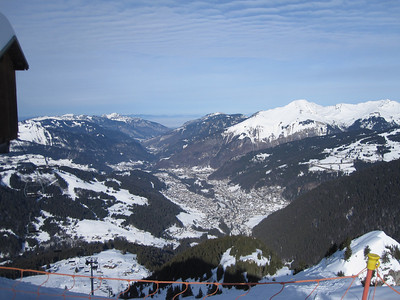 View down over the Morzine valley from one of the peaks we did on day 3