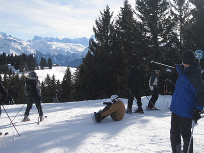 This time, aiming lower, and we seem to have winged a snowboarder.