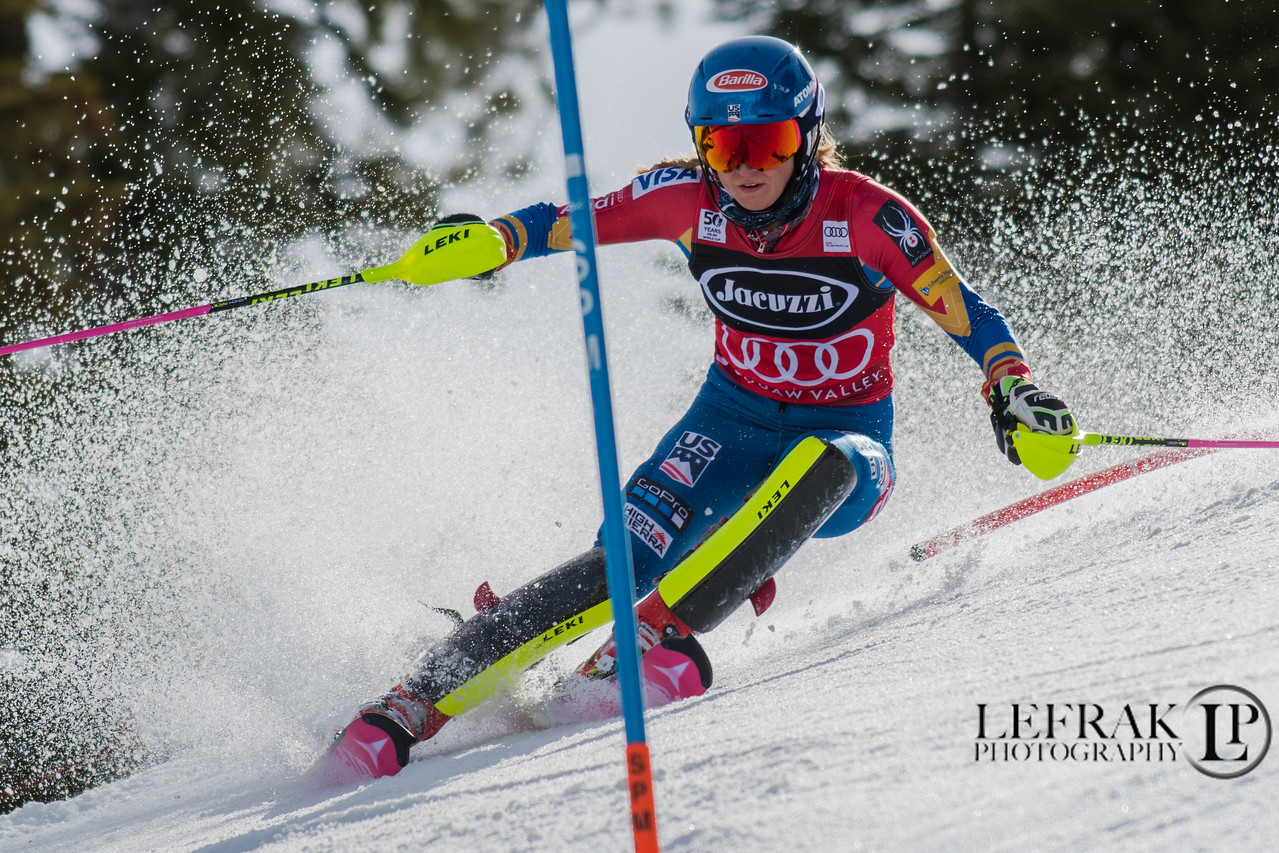 Mikaela Shiffrin, USA. 2017 World Cup Slalom at Squaw Valley 1st run.
