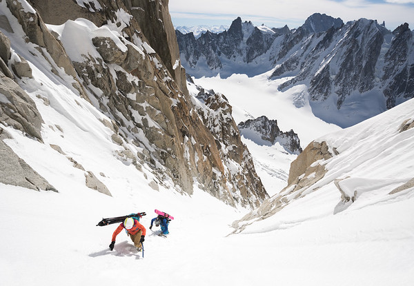 Valentine Fabre and Tom Grant on the Y-Couloir of the Aiguille d' Argentiere, Chamonix, France