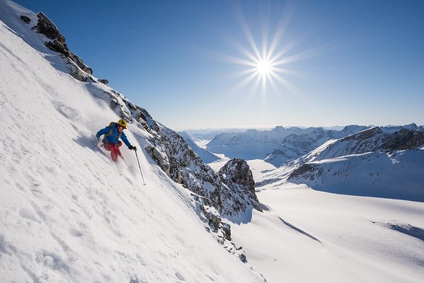 Stuart Johnston descending a new ski line, East Greenland