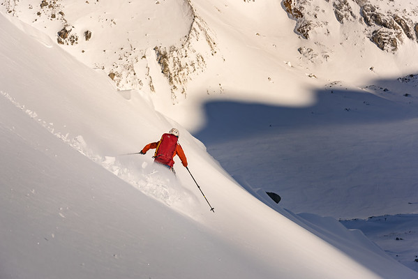 Valentine Fabre skiing above the Argentiere Glacier, France