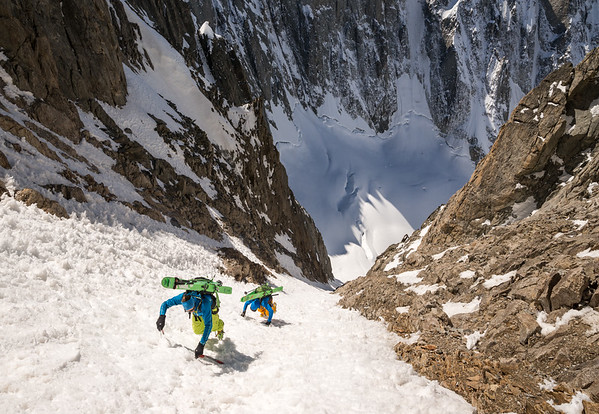 Ross Hewitt and Tom Grant climbing the SW couloir of the Aiguille de l'Amône, France