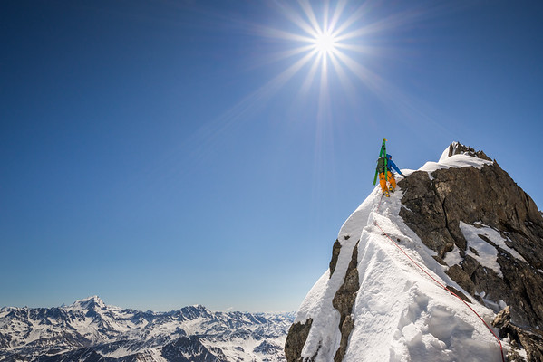Tom Grant on the Aiguille de l'Amone, Mont Blanc Massif