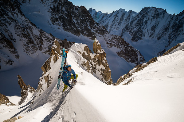 Ben Briggs in the SE couloir of the Aiguille du Chardonnet, Chamonix