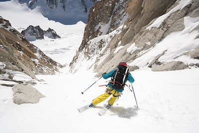 Jesper Petersson  on the Y-Couloir of the Aiguille d' Argentiere, Chamonix, France