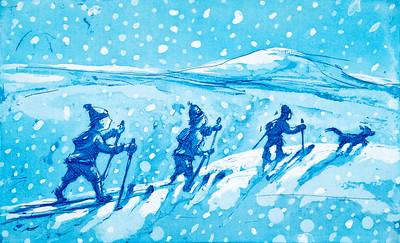 Søsken i snøvær, 2019, 900,-
