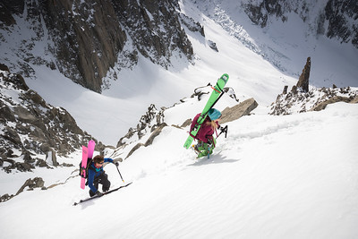 Johanna Stalnacke and Tom Grant approaching the NW face of Aiguille du Tacul, Chamonix
