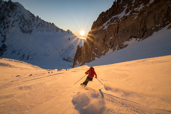 Valentine Fabre skiing below Col du Chardonnet at sunset