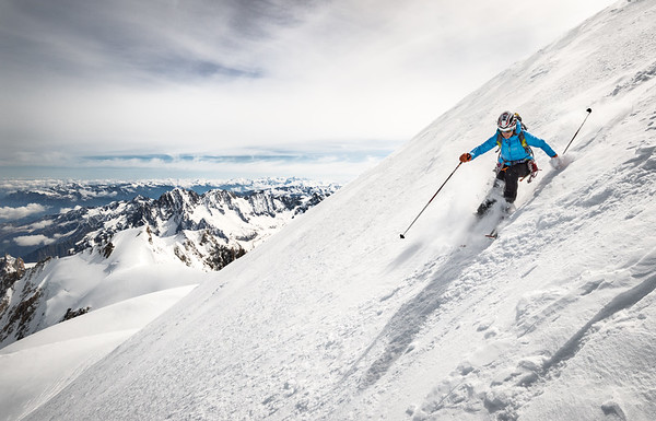 Valentine Fabre skiing the north face of Mont Blanc