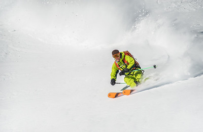 Ross Hewitt in the powder below Helbronner, Italy