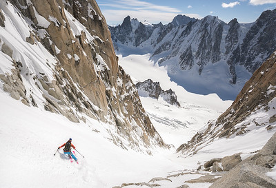 Tom Grant on the Y-Couloir of the Aiguille d' Argentiere, Chamonix, France