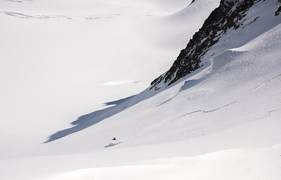 Marco Bernasocchi descending the Fieschergletscher from the Grunhorn, Oberland, Switzerland