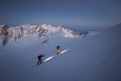 Liv Sansoz and Marco Bernasocchi approaching the Hugisattel, Finsteraarhorn, Oberland, Switzerland