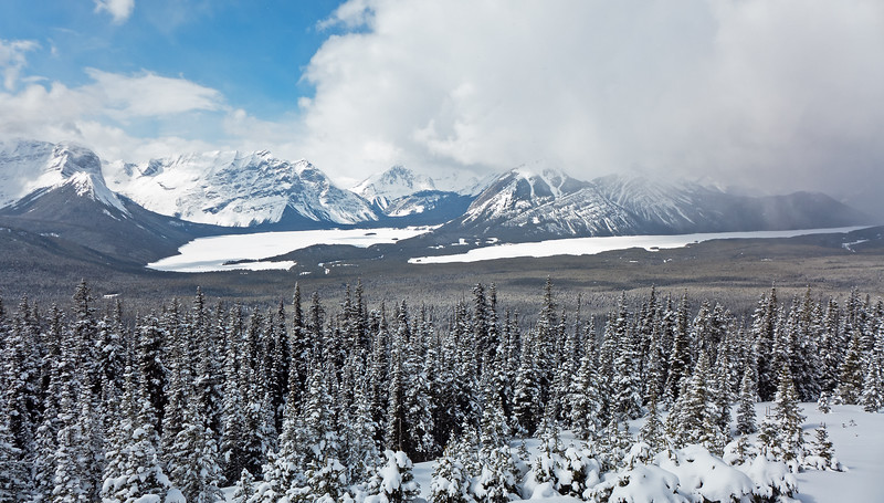 Sunshine and snow squalls at the Kananaskis Fire Lookout on April 12.