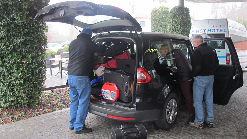 Malpensa Airport near Milan @ First Hotel.<br /> Loading the car with six people and luggage