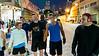Producer Gabi Hayes (headband), Ben Shirley (beard) and Judge Craig Mitchell (blue tank) get ready to begin their bi-weekly seven mile run through L.A.'s skid row at 6:00 am.