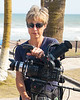 Gabi Hayes, Skid Row Marathon producer, gets ready for an interview in Ghana.