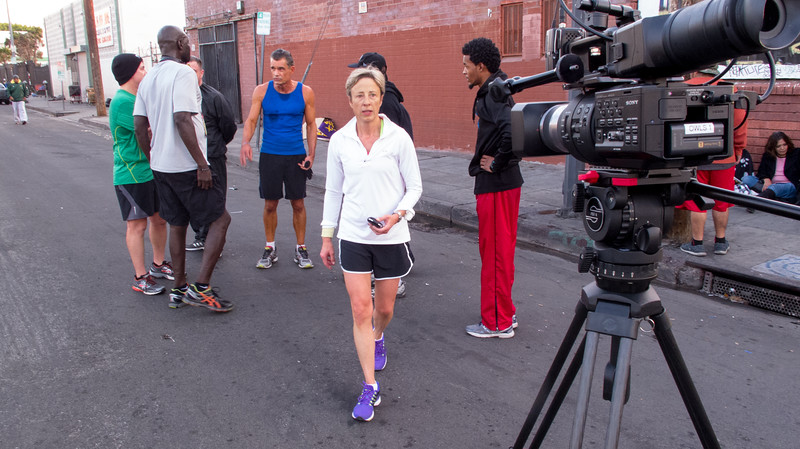 FAVORITE ****  Skid Row marathon producer Gabi Hayes checks on her Sony FS700 and Sachtler FSB-8 after a training run through L.A.'s skid row.