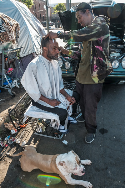 Skid Row Barber on Crocker Street near 6th