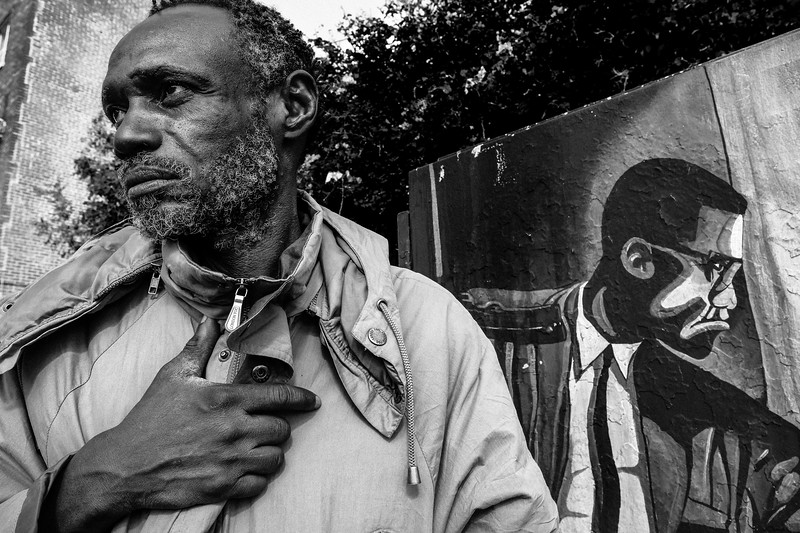 Portrait with Malcolm X, 6th Street near Gladys Park, Skid Row, Los Angeles