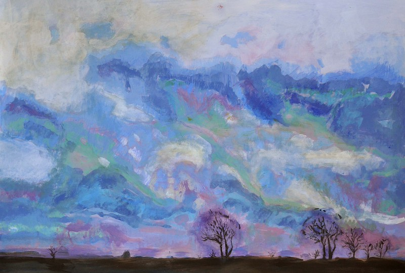 """""""Morning Sky"""" (acryl and oil on MDF board) by Sven Froekjaer-Jensen"""
