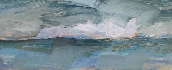 """""""cloudscape/clouds moving in"""" (oil) by Jane du Brin"""