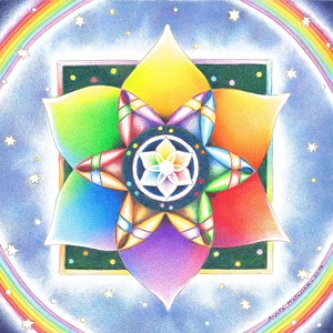 """Rainbow Dawn"" (colored pencil) by Angela Matuschka"