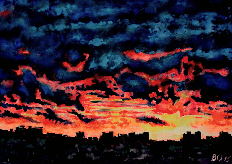 """Moscow sunset"" (watercolor) by Victor Ovsyannikov"