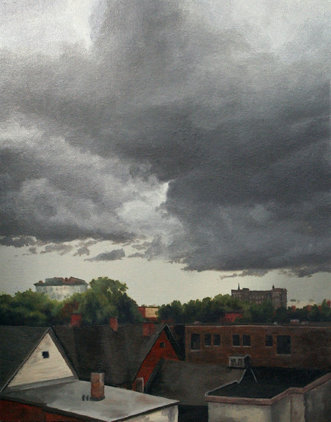 """""""Low Light Clouds"""" (oil on panel) by Brittni Barr"""