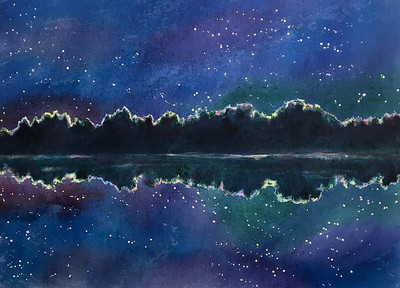 """Stars on the Water"" (acrylic on canvas) by Marcia Crumley"