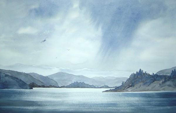 """Kalamalka Lake Autumn Rains"" (watercolor) by Marlene McPherson"