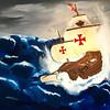 """La Santa Maria in a Storm"" (oil on canvas) by Mariia Rykhlovska"