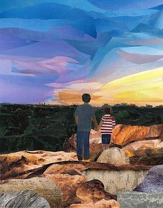 """Brotherly Love"" (magazine collage on canvas panel) by Tracie Joyner"