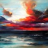 """SUNSET"" (oil on canvas) by Svetlana Kobrakova"