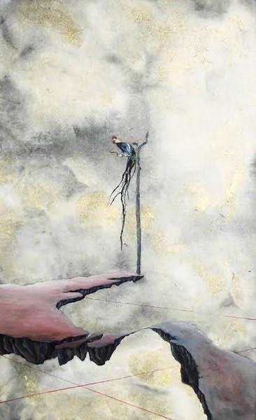 """""""jyo myo sei tyoku"""" (oil on japanese paper) by Orochi Ichijo"""