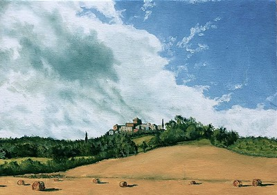 """A View of Fabro From the South"" (oil on panel) by Louis Degni"