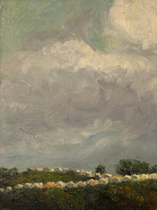 """San Francisco Sky"" (oil on gessobord) by 	Claudine Krause"