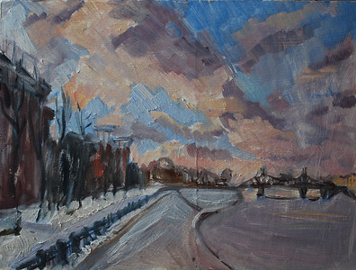 """Sky over Volga"" (oil) by Anna Klyosheva"