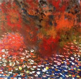 """Lake on Fire"" (acrylic) by Vasile Ghiuta"