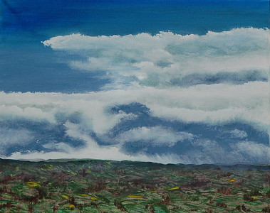 """Isolated Showers"" (acrylic) by Tricia Hoye"