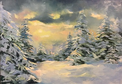 """Winter Sky"" (oil on canvas) by Daria Kolesnikova"