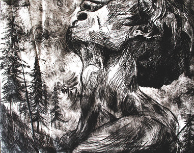 """Seeks Solace"" (ink etching) by Hannah Deters"