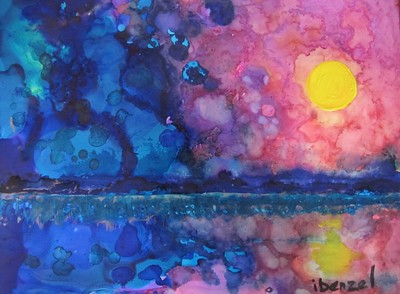 """Here Comes The Sun"" (mixed media- alcohol inks, Luminaire, acrylics) by Ilona Benzel"