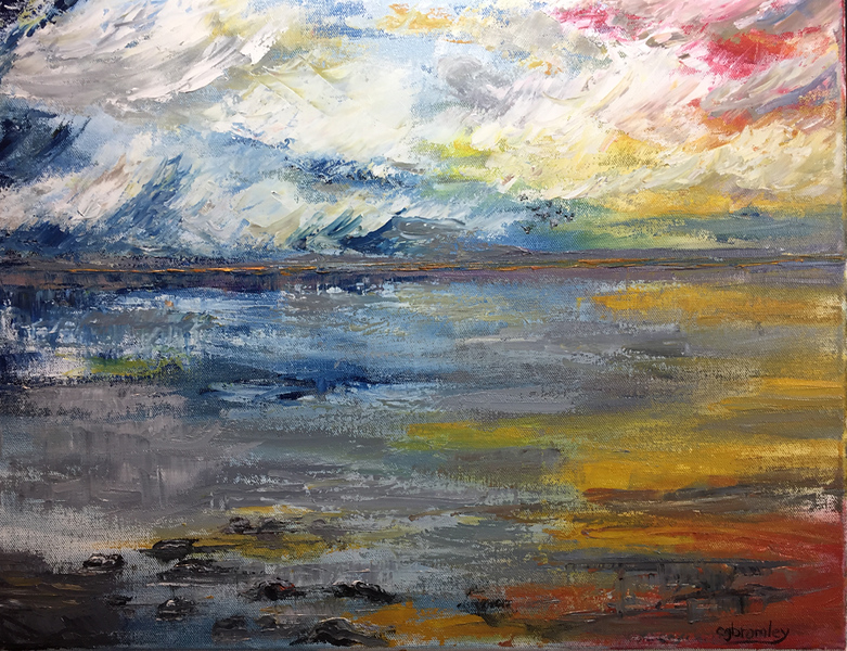 """Sunset"" (oil on canvas) by Crista Bromley"
