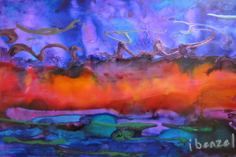 """""""Wild Child"""" (mixed media- alcohol inks, acrylics, Luminaire) by Ilona Benzel"""