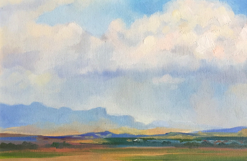 """Cloud Formations upon Kyrenia Mountains"" (oil on canvas mounted to cardboard) by Mira Argunova"