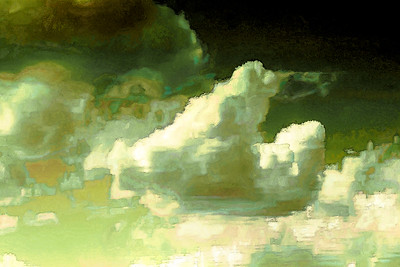 """Cloud Dance Reflection on Water"" (digitally altered photograph on aluminum) by John Michael Edington"