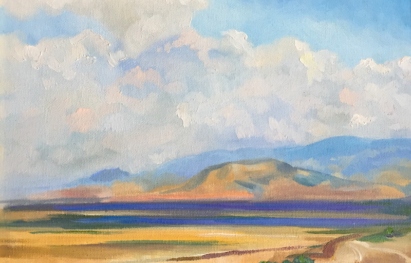 """Clouds upon Kyrenia Mountain Range"" (oil on canvas mounted to cardboard) by Mira Argunova"
