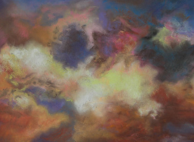 """Exploding Colors in the Sky"" (pastel) by Tobi Abrams"